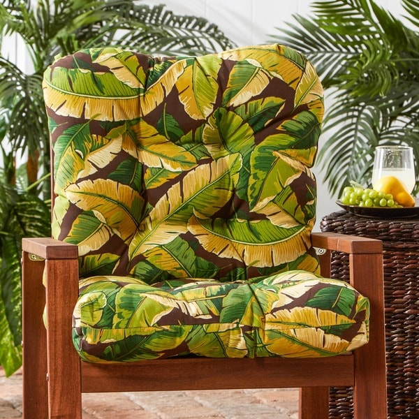 Havenside Home San Elijo Outdoor Palm Leaves Seat/ Back Chair Cushion