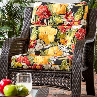 Havenside Home Grey Whale Tropical Pattern Outdoor High-back Chair Cushion