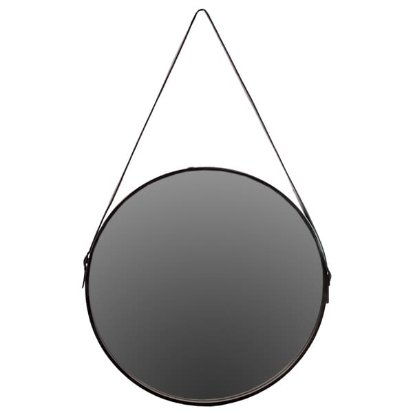 Shop Black Metal Round Mirror With Leather Belt Hanger