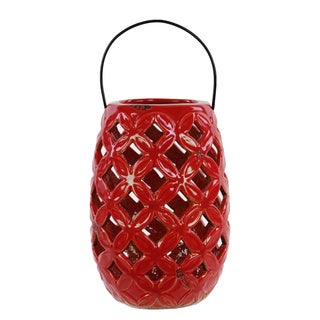 Gloss Red Oval Ceramic Lantern with Metal Handle