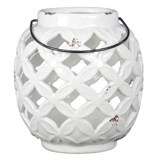 Gloss White Round Ceramic Lantern with Metal Handle