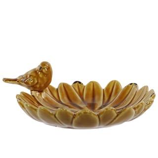 Brown Ceramic Bird Feeder