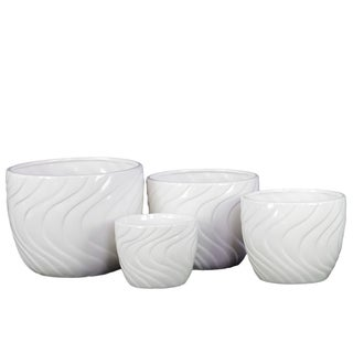 White Ceramic Pot (Set of 4)