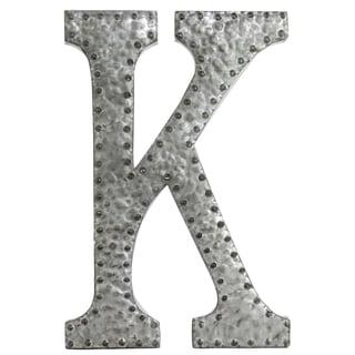 Zinc Metal Letter K Wall Decor