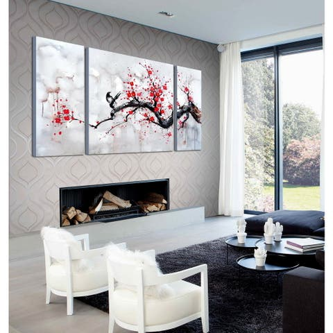 Red Plum Blossom' 3-piece Gallery-wrapped Canvas Art Set