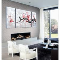 'Red Plum Blossom' 3-piece Gallery-wrapped Canvas Art Set