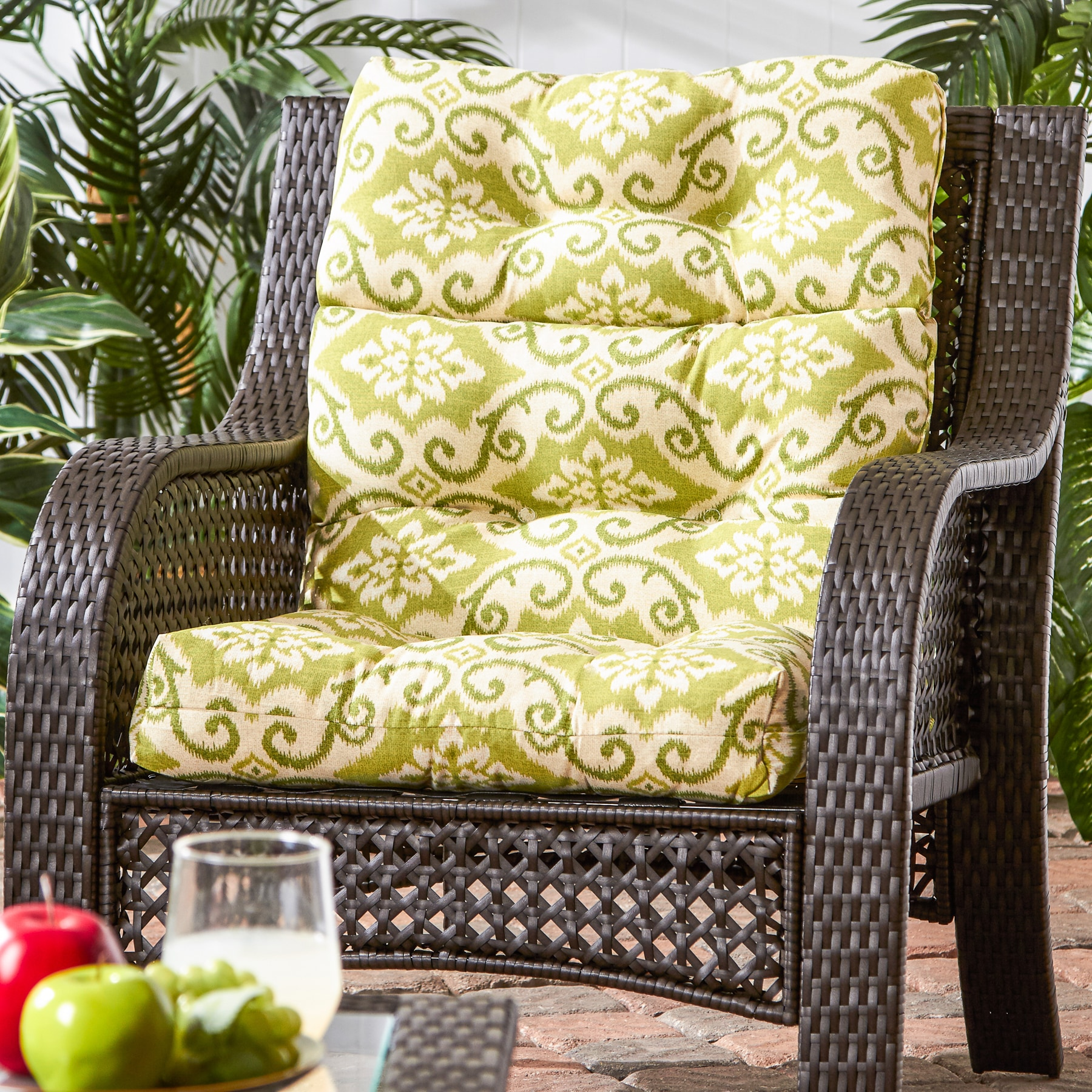 Havenside Home Cocoa Beach 22-inch x 44-inch Outdoor High Back Chair Cushion (Green Ikat)