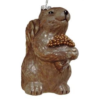 Glass Squirrel Acorn Ornament