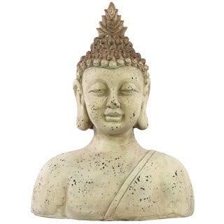 Bust Medium Beige Fiberstone Buddha