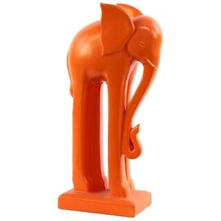 Orange Ceramic Elephant Statue