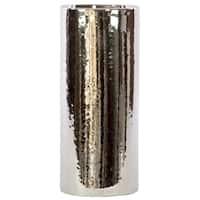 UTC21221: Ceramic Cylindrical Vase LG Polished Chrome Finish Silver