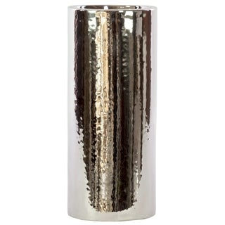 UTC21221: Ceramic Cylindrical Vase LG Polished Chrome Finish Silver