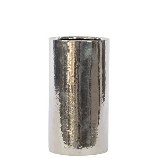 Small Ceramic Chrome Silver Vase