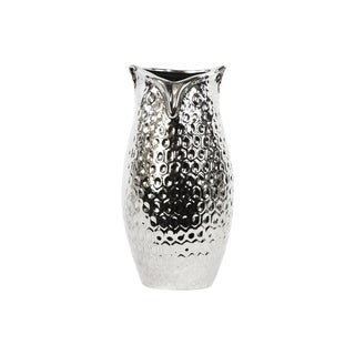 Chrome Silver Large Dimpled Ceramic Owl Vase