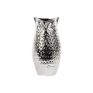 Chrome Silver Large Dimpled Ceramic Owl Vase|https://ak1.ostkcdn.com/images/products/9694135/P16871577.jpg?impolicy=medium