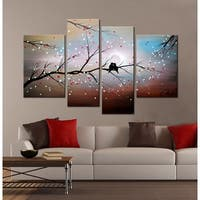 Clay Alder Home 'Love on The Branch' 4-piece Hand-painted Gallery-wrapped Canvas Art Set