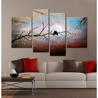 'Love on The Branch' 4-piece Hand-painted Gallery-wrapped Canvas Art Set