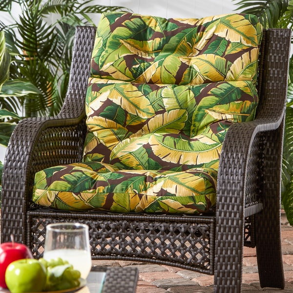 Outdoor high back chair cushion palm leaves free shipping today 16871257 Home goods palm beach gardens