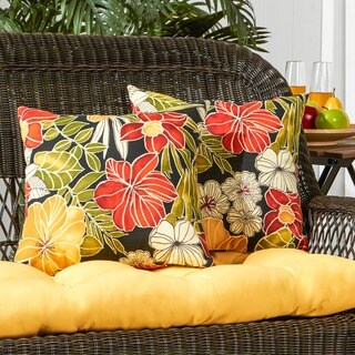 Havenside Home Grey Whale 2-piece Floral Outdoor Accent Pillow Set