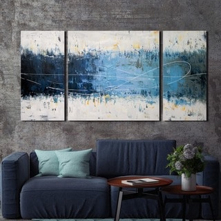 Wake Up Hand painted 3 piece Gallery wrapped Canvas Art Set
