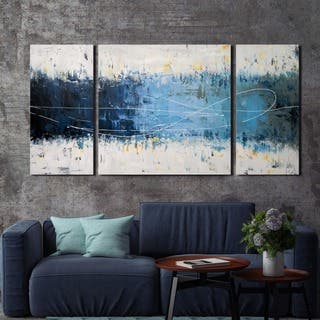 'Wake Up ' Hand-painted 3-piece Gallery-wrapped Canvas Art Set|https://ak1.ostkcdn.com/images/products/9694186/P16871641.jpg?impolicy=medium