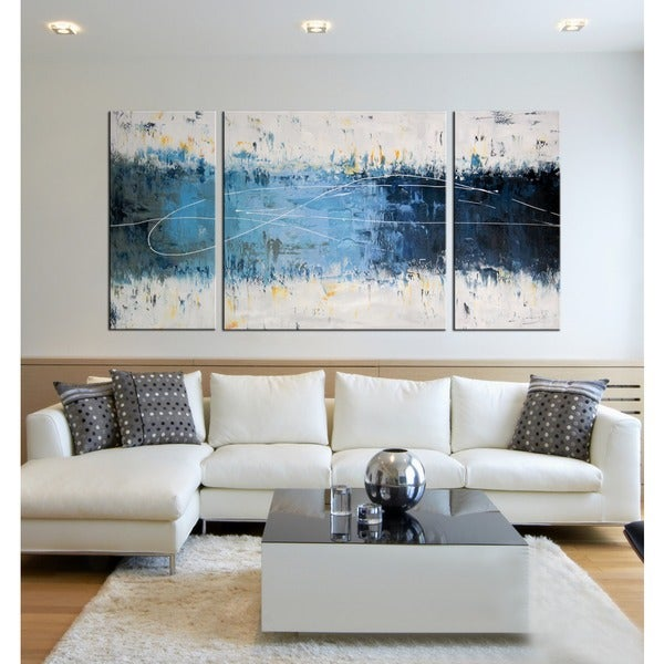 39 Wake Up 39 Hand Painted 3 Piece Gallery Wrapped Canvas Art