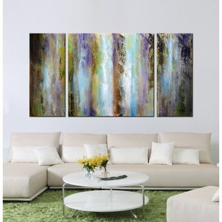 'Abstract painting 615' 3-piece Hand-painted Gallery-wrapped Canvas Art Set