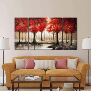 art pictures for living room.  Through The Trees Hand Painted 3 piece Gallery wrapped Art Set For Less Overstock com
