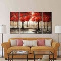 'Through The Trees' Hand Painted 3-piece Gallery-wrapped Art Set