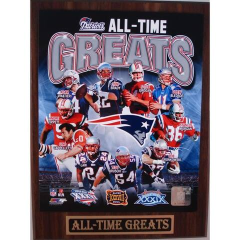 New England Patriots All Time Greats Plaque - White - 12x9