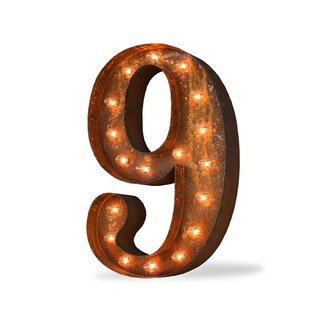 Indoor/ Outdoor Commercial Grade Rusted Steel Number '9' Iconic Profession/Commercial MarqueeLight
