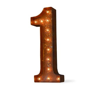 Indoor/ Outdoor Commercial Grade 2 ft. Rusted Steel Number '1' Iconic Marquee Light