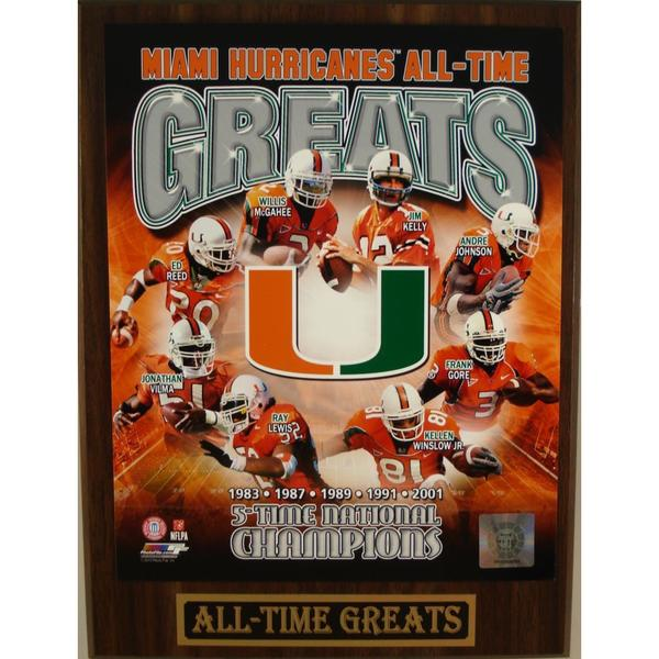 Miami Hurricanes All Time Greats Plaque