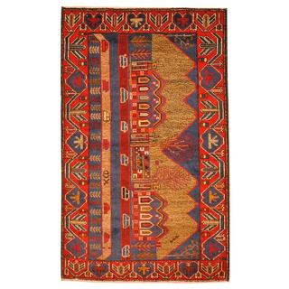 Herat Oriental Semi-antique Afghan Hand-knotted Tribal Balouchi Navy/ Red Wool Rug (2'10 x 4'7)