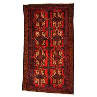 Herat Oriental Semi-antique Afghan Hand-knotted Tribal Balouchi Red/ Navy Wool Rug (2'7 x 4'3)