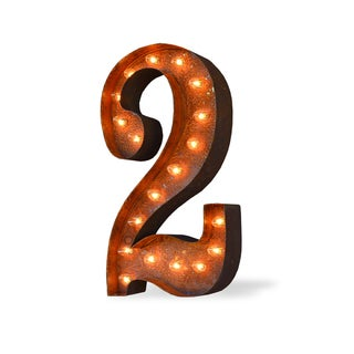 Indoor/ Outdoor Commercial Grade Rusted Steel Number '2' Iconic Profession/Commercial MarqueeLight