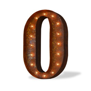 Indoor/ Outdoor Commercial Grade Rusted Steel Number '0' Iconic Profession/Commercial MarqueeLight