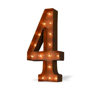 Indoor/ Outdoor Commercial Grade Rusted Steel Number '4' Iconic Profession/Commercial MarqueeMarquee