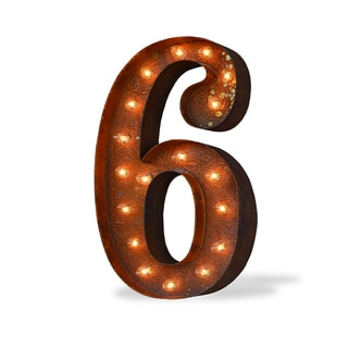 Indoor/ Outdoor Commercial Grade Rusted Steel Number '6' Iconic Profession/Commercial MarqueeLight