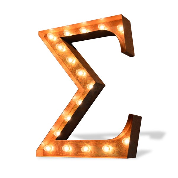 Indoor/ Outdoor Commercial Grade Rusted Steel Greek Letter Sigma Iconic Profession/Commercial MarqueeLight
