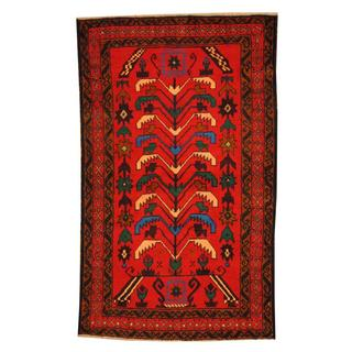Herat Oriental Semi-antique Afghan Hand-knotted Tribal Balouchi Red/ Ivory Wool Rug (2'8 x 4'4)