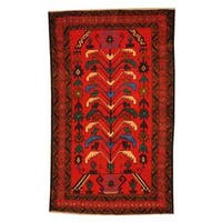 Handmade Herat Oriental Semi-antique Afghan Tribal Balouchi Red/ Ivory Wool Rug (Afghanistan) - 2'8 x 4'4