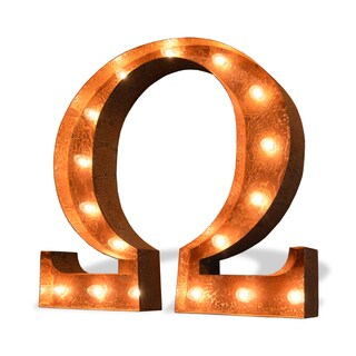Indoor/ Outdoor Commercial Grade Rusted Steel Greek Omega Iconic Marquee Light