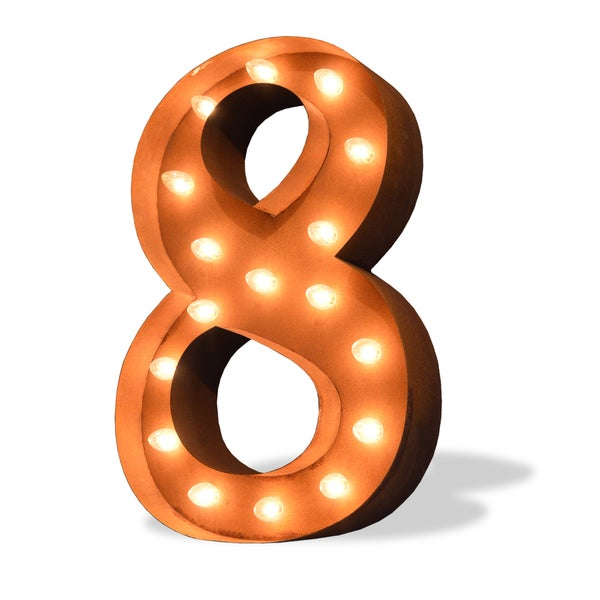 Indoor/ Outdoor Commercial Grade Rusted Steel Numeral '8' Iconic Profession/Commercial MarqueeLight
