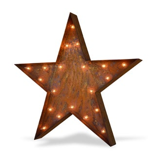 Indoor/ Outdoor Commercial Grade Rusted Steel 3 ft. Star Iconic Marquee Light
