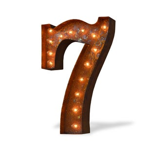 Indoor/ Outdoor Commercial Grade Rusted Steel Number '7' Iconic Marquee Light