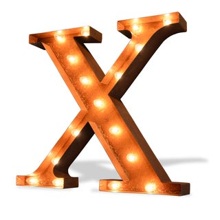 Indoor/ Outdoor Rusted Steel Greek Letter 'Chi' Iconic Marquee Light