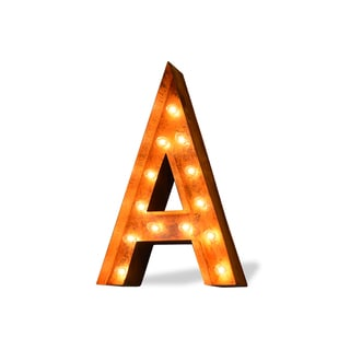 Indoor/ Outdoor Rusted Steel Letter 'A' Iconic Marquee Light