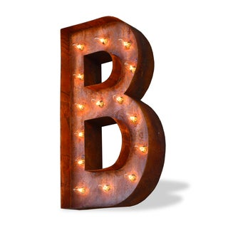 Indoor/ Outdoor Rusted Steel Alphabet Letter 'B' Iconic Marquee Light