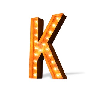 Indoor/ Outdoor Rusted Steel Alphabet Letter 'K' Iconic Marquee Light